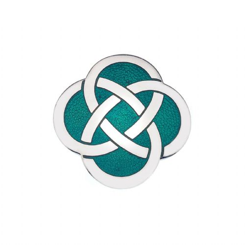 Celtic Knot Green Brooch Silver Plated Brand New Gift Packaging